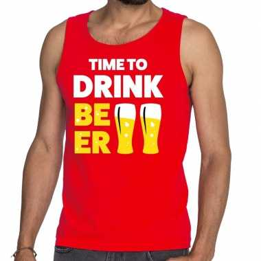 Goedkope time to drink beer fun tanktop / mouwloos shirt rood voor he
