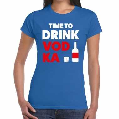 Goedkope time to drink vodka fun t shirt blauw voor dames