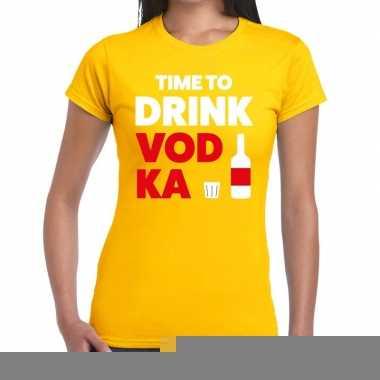 Goedkope time to drink vodka fun t shirt geel voor dames