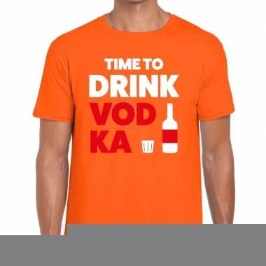 Goedkope time to drink vodka fun t shirt oranje voor heren