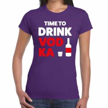 Goedkope time to drink vodka fun t shirt paars voor dames