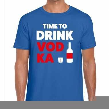 Goedkope time to drink vodka fun t shirt voor heren blauw