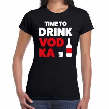 Goedkope time to drink vodka fun t shirt zwart voor dames