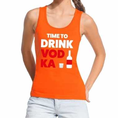 Goedkope time to drink vodka fun tanktop / mouwloos shirt oranje voor