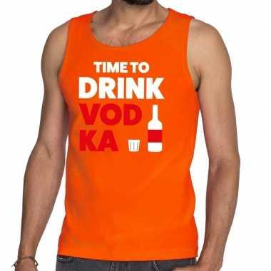 Goedkope time to drink vodka fun tanktop / mouwloos shirt oranje voor