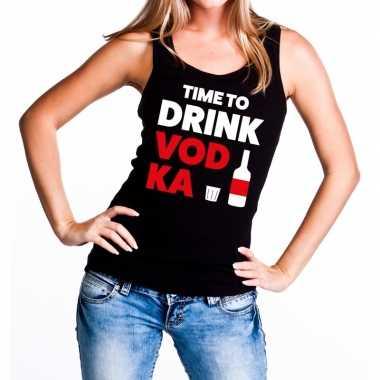Goedkope time to drink vodka fun tanktop / mouwloos shirt zwart voor