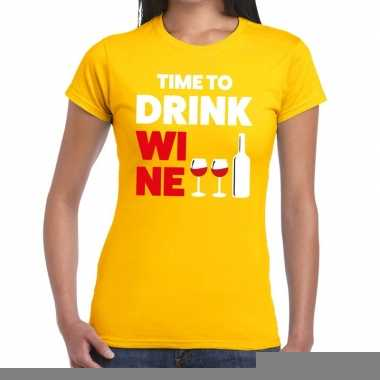 Goedkope time to drink wine fun t shirt geel voor dames