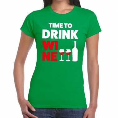 Goedkope time to drink wine fun t shirt groen voor dames