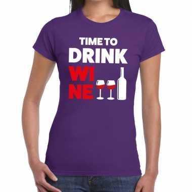 Goedkope time to drink wine fun t shirt paars voor dames