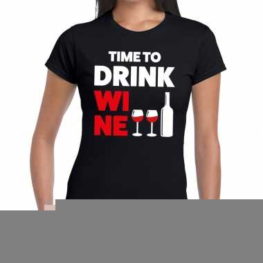 Goedkope time to drink wine fun t shirt zwart voor dames
