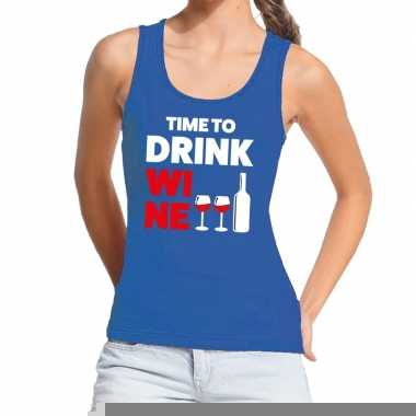 Goedkope time to drink wine fun tanktop / mouwloos shirt blauw voor d