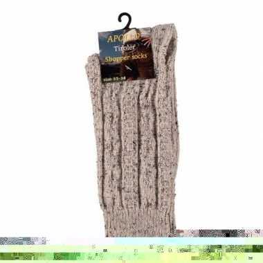 Goedkope tiroler bierfeest sokken beige