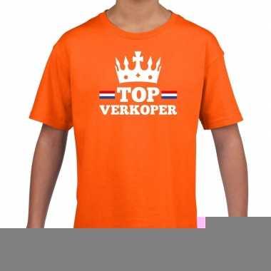 Goedkope top verkoper met kroontje t shirt oranje kinderen