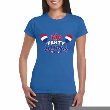 Goedkope toppers big party balloons 2019 t shirt blauw dames