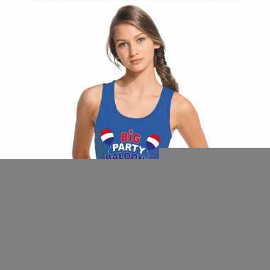 Goedkope toppers big party balloons singlet/ mouwloos shirt blauw dam