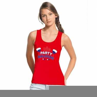 Goedkope toppers big party balloons singlet/ mouwloos shirt rood dame