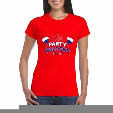 Goedkope toppers big party balloons t shirt rood dames