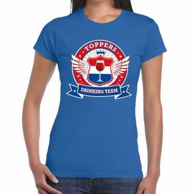 Goedkope toppers drinking team t shirt blauw dames