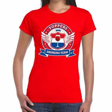 Goedkope toppers drinking team t shirt rood dames