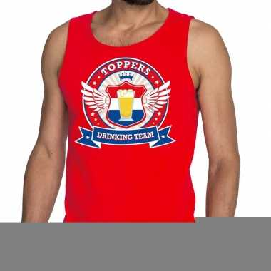 Goedkope toppers drinking team tankop / mouwloos shirt rood heren