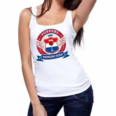 Goedkope toppers drinking team tanktop / mouwloos shirt wit dames