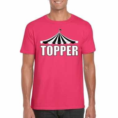 Goedkope toppers pretty pink shirt topper met witte letters heren