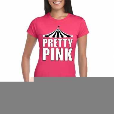 Goedkope toppers pretty pink t shirt roze met witte letters dames
