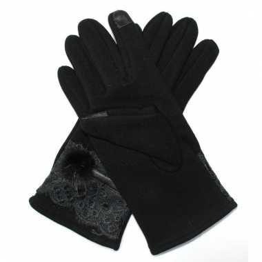 Goedkope touchscreen handschoenen zwart met bont voor dames