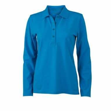 Goedkope turquoise dames poloshirt met lange mouw