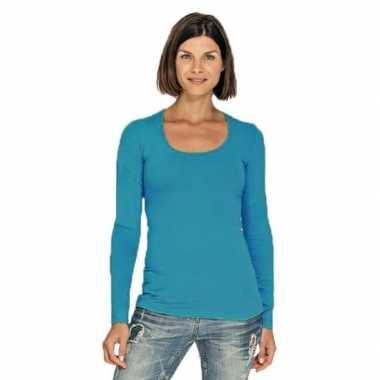 Goedkope turquoise longsleeve shirt met ronde hals voor dames