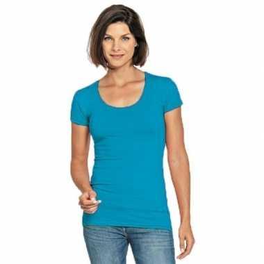Goedkope turquoise shirt met ronde hals voor dames