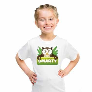 Goedkope uilen dieren t shirt wit voor kinderen