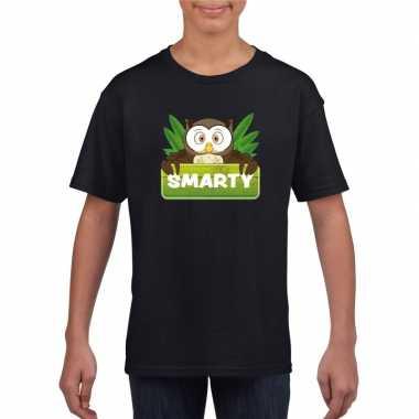 Goedkope uilen dieren t shirt zwart voor kinderen