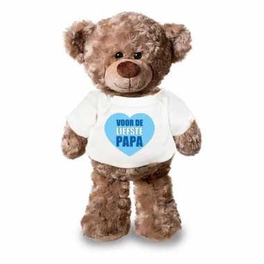 Goedkope vaderdag liefste papa knuffelbeer wit shirtje 24 cm