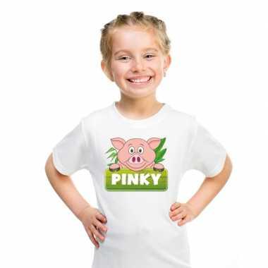 Goedkope varken dieren t shirt wit voor kinderen