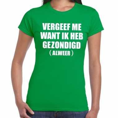 Goedkope vergeef me fun t shirt groen voor dames