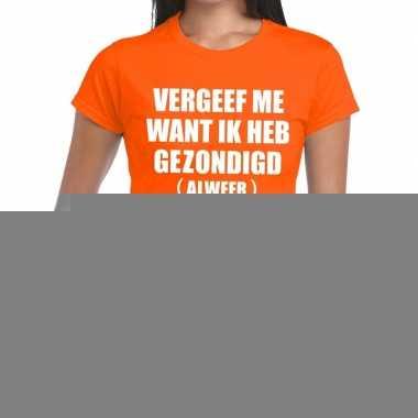 Goedkope vergeef me fun t shirt oranje voor dames