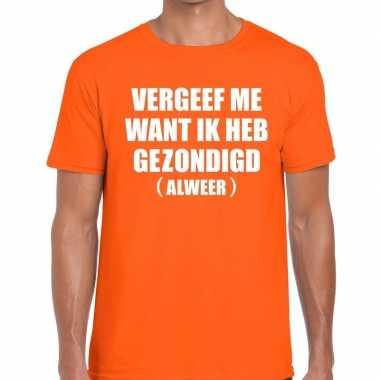 Goedkope vergeef me fun t shirt oranje voor heren