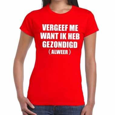 Goedkope vergeef me fun t shirt rood voor dames