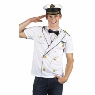 Goedkope verkleed t-shirt kapiteinspak heren