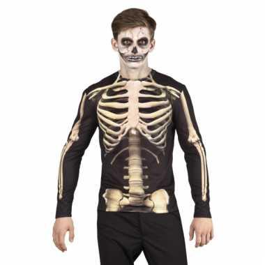 Goedkope verkleed t-shirt skelet heren