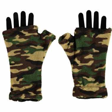 Goedkope vingerloze fleece handschoenen camouflage print voor volwass