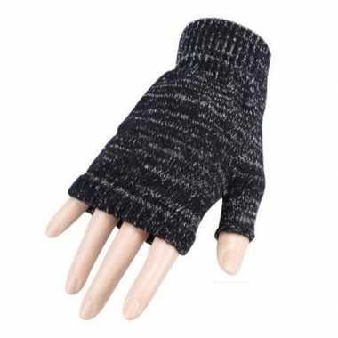 Goedkope vingerloze gemeleerde grijze polsmofjes/handschoenen voor vo