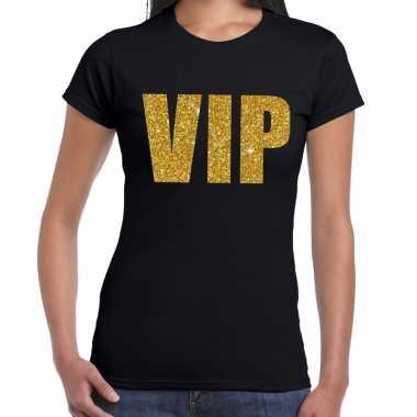 Goedkope vip fun t-shirt zwart met goud voor dames