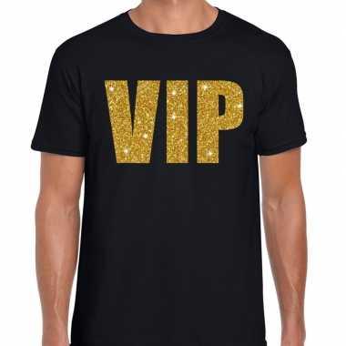 Goedkope vip fun t shirt zwart met goud voor heren