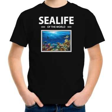 Goedkope vis foto t shirt zwart voor kinderen sealife of the world cadeau shirt vissen liefhebber