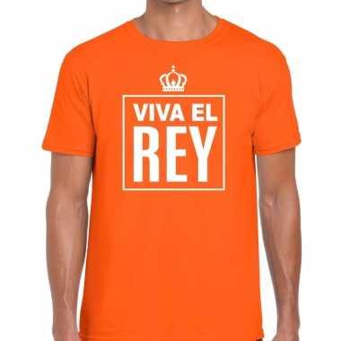 Goedkope viva el rey spaanstalig shirt oranje heren