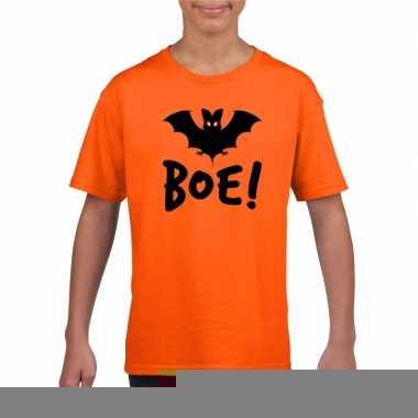 Goedkope vleermuis halloween t shirt oranje voor jongens en meisjes