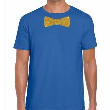 Goedkope vlinderdas t shirt blauw met glitter das heren