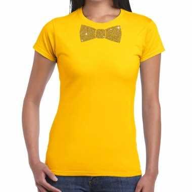 Goedkope vlinderdas t shirt geel met glitter das dames